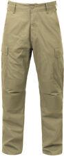 Khaki Solid Military Rip-Stop BDU Cargo Bottoms Fatigue Trouser Pants