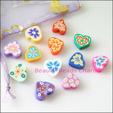 35Pcs mixed handmade polymer fimo clay heart flat spacer beads charms 12mm