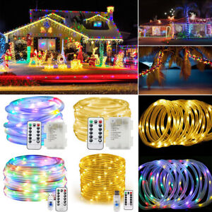 10M100 LEDs Rope Strip Fairy String Light Waterproof 8 Modes Xmas Outdoor Decor