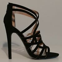 "NEW!! Qupid Black Suede Strappy Sandals 5"" Heels Size 8.5M US 38.5M EUR"