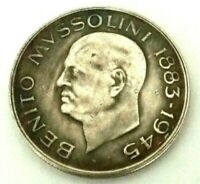 100 LIRE 1945 - ITALY - BENITO MUSSOLINI - SOUVENIR COIN MADE OF SILVERED METAL