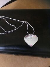 """Silver Tone Heart Engraved Name """" Victoria"""" Pink Rhinestone Pendant Necklace"""