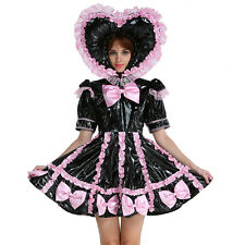 Black PVC Baby Sissy Lockable Maid  Sweet Heart Dress Costume Crossdress Male XL