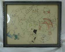 Original Hand Colored Pen & Ink Cartoon Type Drawing Kewpie Dolls Rose O'Neill
