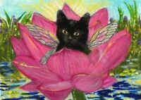 BCB Black Fairy Cat in a Lotus Print of Painting ACEO 2.5 x 3.5 Inches