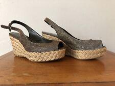 Jimmy Choo Glitter Brown Slingback wedge sandals size 35.5