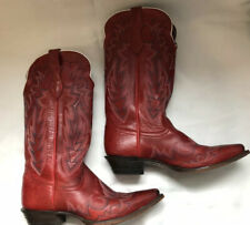 Justin Red Pointed Toe Western Cowboy Boots Women's Size 8