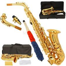 New HRSD Beginner Student Paint Gold Alto Eb Sax Saxophone w/ Case Accessories