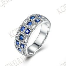 Sapphires Diamonds Gemstone Band Engagement Wedding Ring Solid 10k White Gold