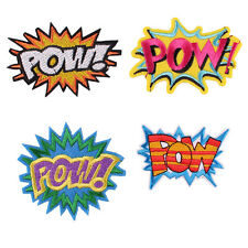 """New 4pcs Letter """"POW"""" Fabric Embroidered Iron/Sew On Patch for Clothes"""