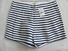 J. Crew Navy & White Stripe Shorts -Linen/Cotton Blend-Pleated-Size 00 -NWT $56