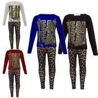 "New Girls ""YEAH YEAH"" Print Party Fashion Top T Shirt & Leopard Legging Set 7-13"