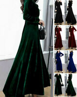 Womens Velvet V Neck  Swing Dress Long Sleeve Cocktail Party Long Maxi Dresses#
