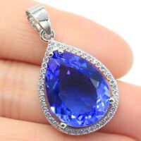 32x19mm Big Gemstone 20x15mm Rich Blue Violet Tanzanite CZ Gift Silver Pendant