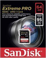 Sandisk 64GB Extreme Pro FS U3 SD card for Nikon D850 D500 D810 D810A D750 D610