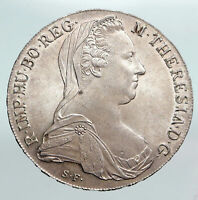 1780 AUSTRIA Queen Maria Theresia Antique Silver 20 Kreuzer Austrian Coin i90302