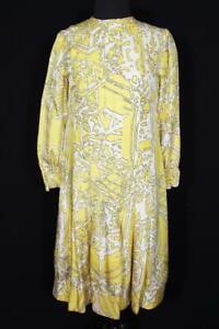 VINTAGE FRENCH 1970'S COLORFUL YELLOW SILK PRINT DRESS PLUS SIZE 6
