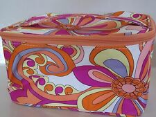 NEW CLINIQUE Large FLOWER Cosmetic Makeup Bag Train Case Top Handle