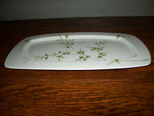 PartyLite Porcelain/Ceramic White w/Green Leaves Candle Tray