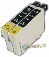 2 Black Ink Cartridges for Epson Stylus non-oem Replaces T0801 Hummingbird