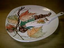 Hand Painted Made in Italy Pie-Cake-Cheese Platter w/ Server-Pottery Dish-Grapes