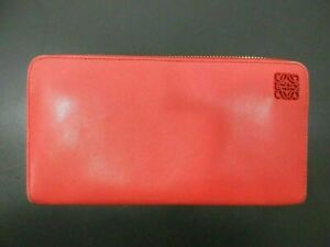 Authentic LOEWE Zip Around Long Wallet Nappa Leather Red Good 87009