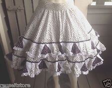 "Square Dance Circle Skirt WHITE Black Floral 32"" W Western VTG Rockabilly Sz M L"