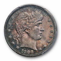 1908 O Barber Quarter PCGS MS 63 Uncirculated New Orleans Dark Purple Toned