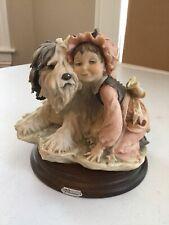 Vintage Giuseppe Armani Figurine Shaggy Sheep Dog & Girl 1982 Florence Italy