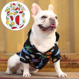 Summer Pet Clothes Hawaii T-shirt Small Dog Cat Chihuahua V Neck Soft Tops #A