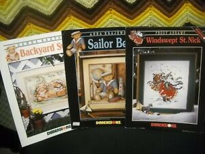 Lot of 3 - Dimensions Counted Cross Stitch Leaflets - Assorted