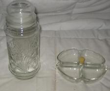 """Lot Of 2 Vintage 1982 Mr. Peanut Glass 7.5"""" Jar W/ Lid & Glass 6"""" Candy Dish"""