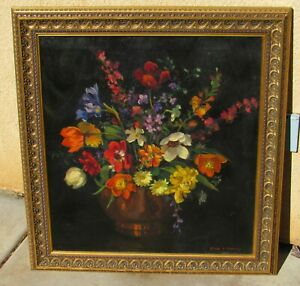 GRACE M. HASKINS Mid Century Classical Style Still Life with Flowers oil