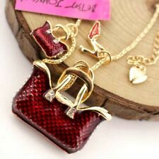 Pendant Betsey Johnson Hot Jewelry Rhinestone Bag and high heels Necklaces