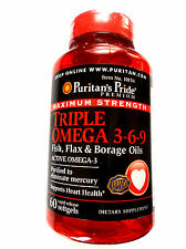 Maximum Strength Triple Omega 3-6-9 Fish Flax & Borage Oils 60 Pills Softgels