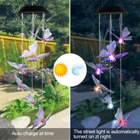 Butterfly Wind Chimes Outdoor Garden Home Decor Pendant Colorful Light 2V 40maH