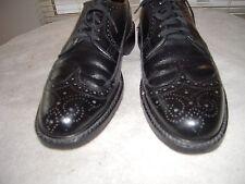 JARMAN Vtg Black Pebble Grain Leather Made In USA Long Wingtip Size 8.5 D