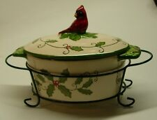 TEMP-TATIONS 'CARDINAL' BY TARA SMALL CASSEROLE WITH METAL HOLDER