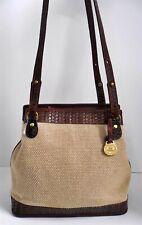 Brahmin Vintage Natural Woven Straw Brown Leather Shoulder Bag USA