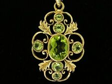 CP377 Beautiful GENUINE 9ct Solid Yellow Gold Ornate  NATURAL Peridot Pendant