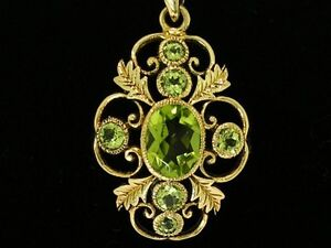 Beautiful GENUINE 9ct Solid Yellow Gold Ornate NATURAL Peridot Floral Pendant