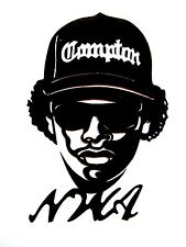 "N.W.A Original Pop Art, 3""X 4½"" inches Hip Hop,Eazy E,clear vinyl decal sticker"