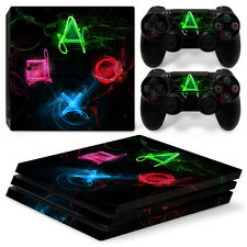 Sony PS4 PlayStation 4 Pro Skin Sticker Screen Protector Set - PS Buttons 3