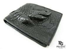 PELGIO Genuine Crocodile Alligator Foot Claw Skin Leather Bifold Wallet Black