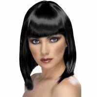 De Adulto Mujer Negra Corta Glam Wig Accesorio de Disfraz