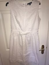 AMPHORA TK MAXX White Broderie Knee Length Front Bow Waisted Dress Size M UK12