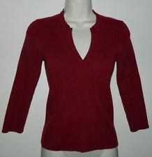 Women Banana Republic Solid Maroon 3/4 Sleeve Sweater Casual Work XS