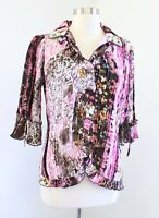Alberto Makali Pink Brown Crinkle Abstract Print Ruffle Blouse Top Size M Floral