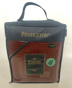 """PENDLETON FULL/QUEEN Washed Waffle Blanket RED 90"""" x 96"""" NEW!"""