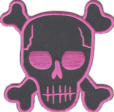 """BLACK w/PINK SKULL PATCH (3"""") - PIRATES - BIKER/Iron On Embroidered Applique"""